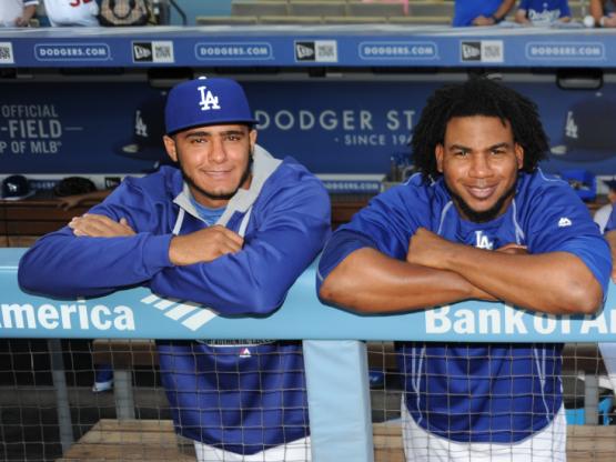 Yimi Garcia and Pedro Baez in October 2015. (Jon SooHoo/Los Angeles Dodgers)