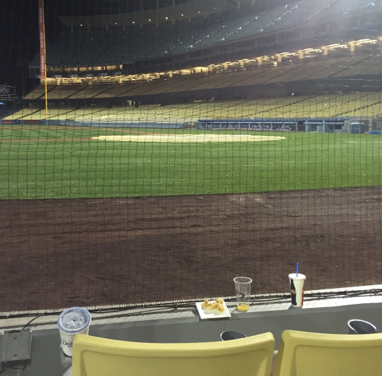 Scott Van Slyke's broken bat landed right in front of this seat Friday night.