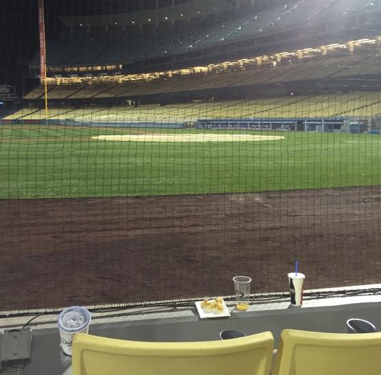 Scott Van Slyke's broken bat landed right in front of this seat Friday night.