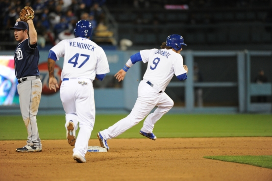 Hopefully, Howie Kendrick and Yasmani Grandal will soon be moving in the right direction for the Dodgers. (Jon SooHoo/Los Angeles Dodgers)
