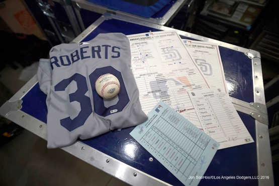 Artifacts from Dave Roberts' first win as Dodger manager. (Jon SooHoo/Los Angeles Dodgers)