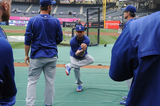 Scott Van Slyke, before the pain. (Jon SooHoo/Los Angeles Dodgers)