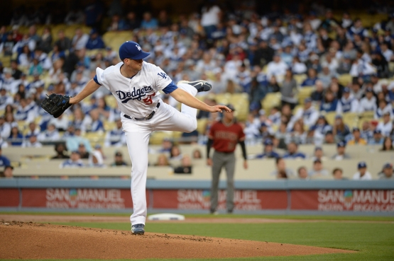 Alex Wood has seven quality starts in 14 total starts with the Dodgers since being acquired in July. (Jon SooHoo/Los Angeles Dodgers)