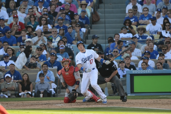 A.J. Ellis homers in Game 5 of the 2013 National League Championship Series. (Jon SooHoo/Los Angeles Dodgers)