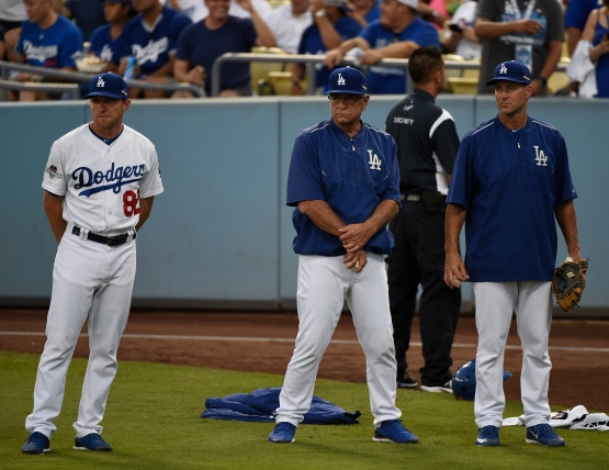 Steve Cilladi with catching coach Steve Yeager and fellow bullpen catcher Rob Flippo during the 2015 playoffs.