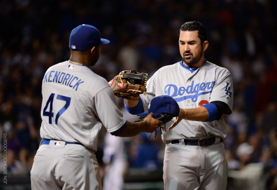 Eighth-inning RBI heroes Howie Kendrick and Adrian Gonzalez.