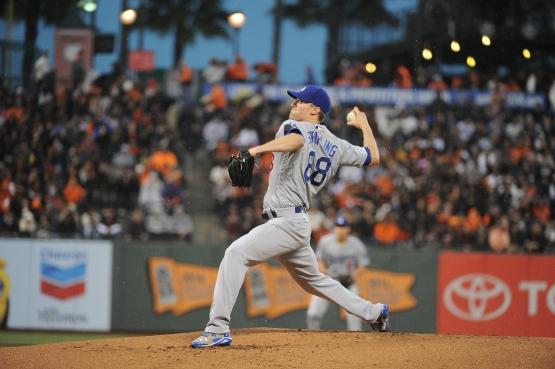 Ross Stripling pitched three shutout innings Sunday. (Jon SooHoo/Los Angeles Dodgers)