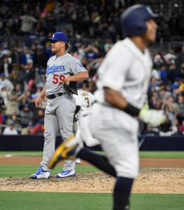 SAN DIEGO, CALIFORNIA - MAY 21: Chin-Hui Tsao #59 of the Los Angeles Dodgers stands on the mound after giving up a walk-off walk to Yangervis Solarte #26 of the San Diego Padres during the 11th inning of a baseball game at PETCO Park on May 21, 2016 in San Diego, California. The Padres won 3-2. (Denis Poroy/Getty Images)