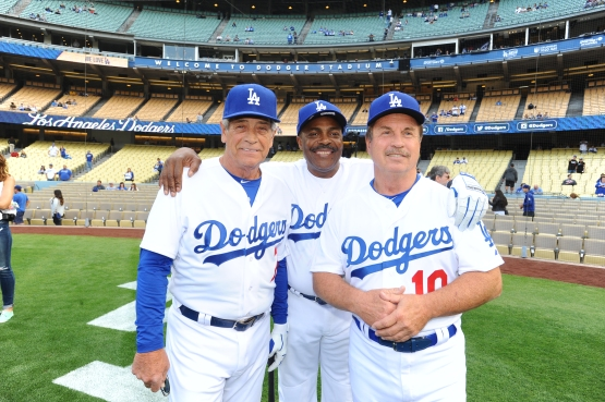 Steve Yeager, Pedro Guerrero and Ron Cey at the 2015 Old-Timers Game. (Juan Ocampo/Los Angeles Dodgers)