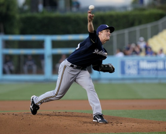 Zack Greinke on the mound against the Dodgers. (Stephen Dunn/Getty Images)