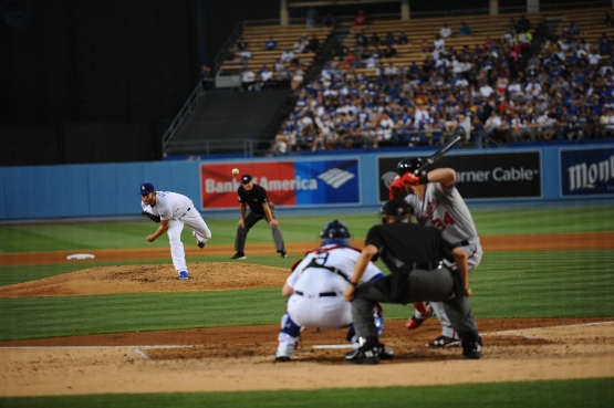 Clayton Kershaw pitches to Bryce Harper on June 20. (Juan Ocampo/Los Angeles Dodgers)