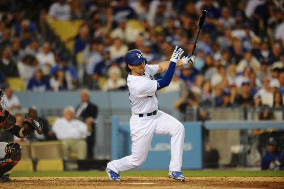 Charlie Culberson takes a swing in April for the Dodgers. (Juan Ocampo/Los Angeles Dodgers)
