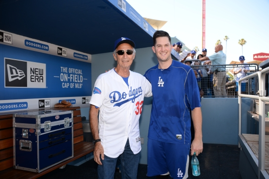 Sandy Koufax with Alex Wood on Old-Timers Day, July 2. (Jon SooHoo/Los Angeles Dodgers)