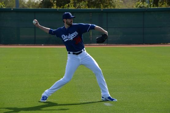 Brandon McCarthy throws during Spring Training in February. (Jon SooHoo/Los Angeles Dodgers)