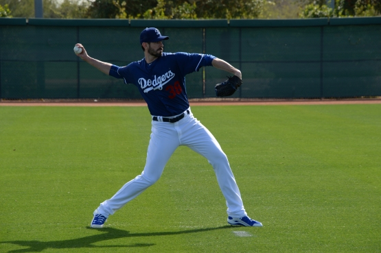 Brandon McCarthy throws during Spring Training in February. (Jon SooHoo/Los Angeles Dodgers)