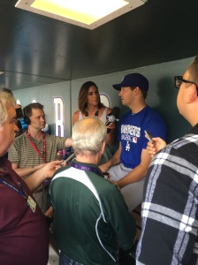 Rich Hill today met reporters for the first time as a Dodger.