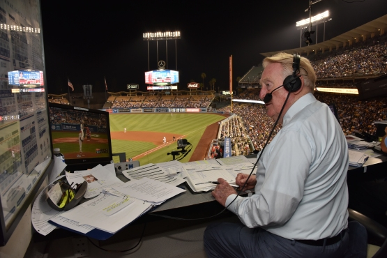 Vin Scully in the booth at Dodger Stadium, earlier this month. (Jon SooHoo/Los Angeles Dodgers)