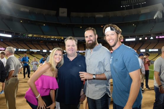 Audrey Van Slyke, Eric Stonestreet, Scott Van Slyke and Clayton Kershaw at the 2015 Ping Pong 4 Purpose event at Dodger Stadium (Jon SooHoo/Los Angeles Dodgers)