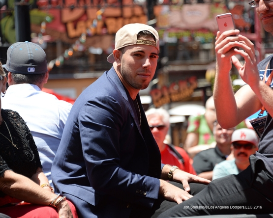 Jose Fernandez in the All-Star Parade in San Diego.(Jon SooHoo/Los Angeles Dodgers)
