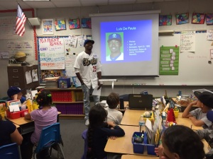 Dodger minor-leaguer and Dominican Republic native Luis DePaula spoke at a local elementary school, as part of the Dodgers' transitioning program.