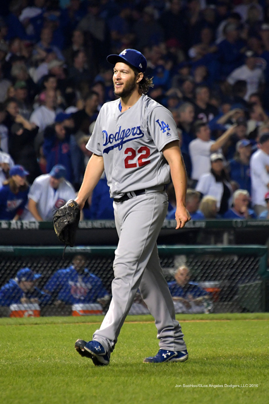 NLCS Game Two-Clayton Kershaw-Los Angeles Dodgers vs Chicago Cubs Sunday, October 16, 2016 at Wrigley Field in Chicago,Illinois. Photo by Jon SooHoo/©Los Angeles Dodgers,LLC 2016