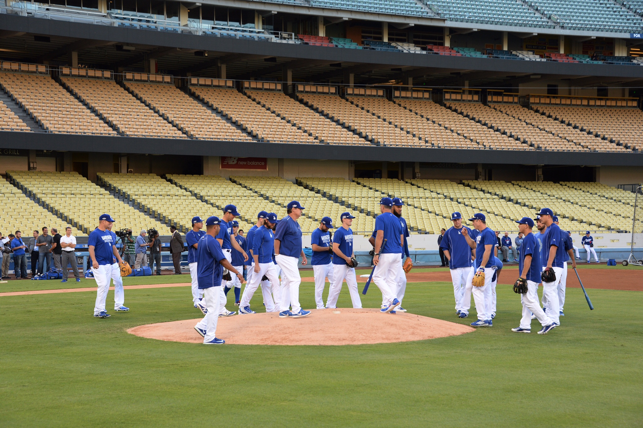 At dusk, the Dodgers were in a workout ahead of their Wednesday flight to Washington D.C. (Jon SooHoo/Los Angeles Dodgers)